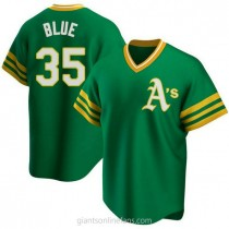 Youth Vida Blue Oakland Athletics #35 Authentic Blue R Kelly Green Road Cooperstown Collection A592 Jersey