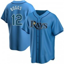 Youth Wade Boggs Tampa Bay Rays #12 Authentic Light Blue Alternate A592 Jersey