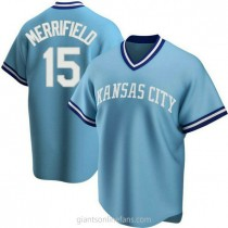 Youth Whit Merrifield Kansas City Royals #15 Authentic Light Blue Road Cooperstown Collection A592 Jerseys