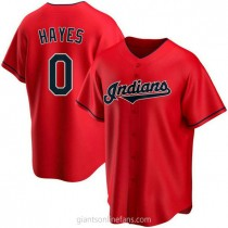 Youth Willie Mays Hayes Cleveland Indians 0 Authentic Red Alternate A592 Jersey