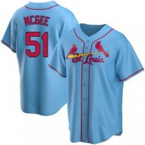 Youth Willie Mcgee St Louis Cardinals #51 Light Blue Alternate A592 Jerseys Authentic