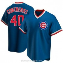 Youth Willson Contreras Chicago Cubs #40 Authentic Royal Road Cooperstown Collection A592 Jersey