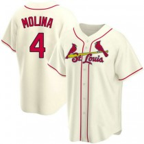 Youth Yadier Molina St Louis Cardinals #4 Cream Alternate A592 Jersey Replica