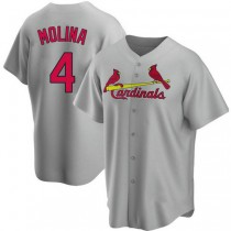 Youth Yadier Molina St Louis Cardinals #4 Gray Road A592 Jersey Replica