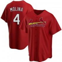 Youth Yadier Molina St Louis Cardinals #4 Red Alternate A592 Jersey Authentic