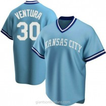 Youth Yordano Ventura Kansas City Royals #30 Authentic Light Blue Road Cooperstown Collection A592 Jersey