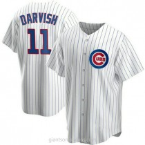 Youth Yu Darvish Chicago Cubs #11 Authentic White Home A592 Jersey
