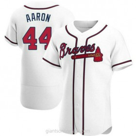 Mens Hank Aaron Atlanta Braves #44 Authentic White Home A592 Jersey