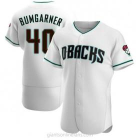 Mens Madison Bumgarner Arizona Diamondbacks #40 Authentic White Teal Alternate A592 Jerseys